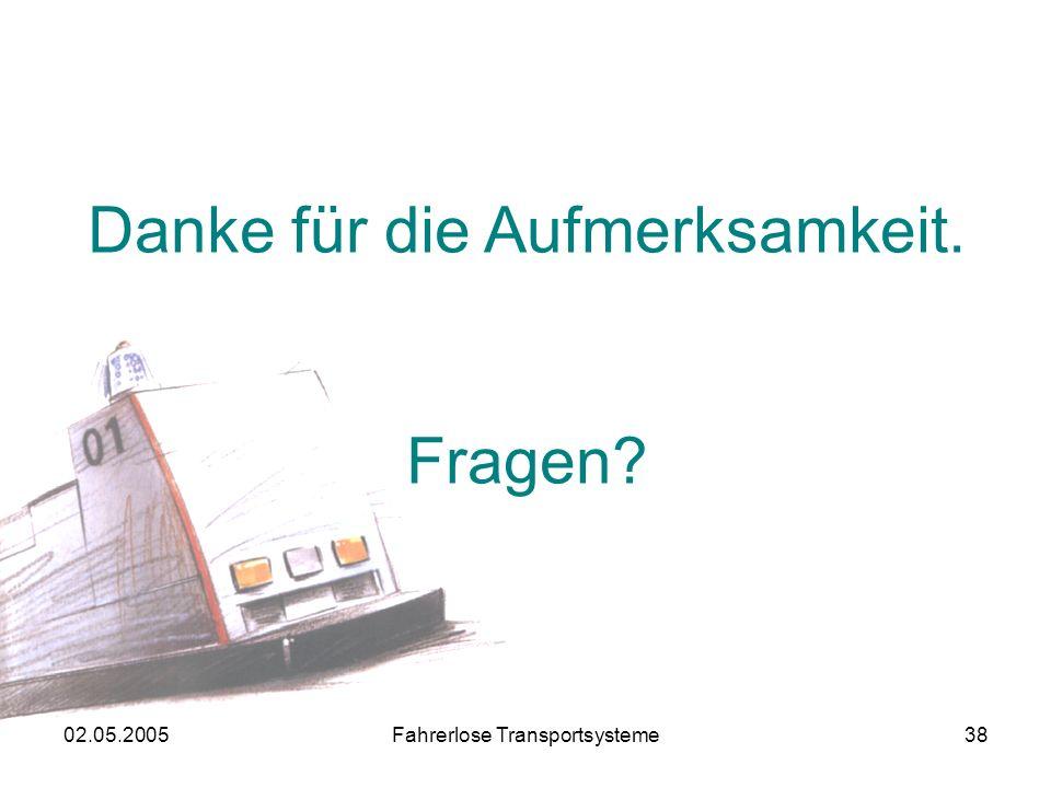 02.05.2005Fahrerlose Transportsysteme38 Danke für die Aufmerksamkeit. Fragen?