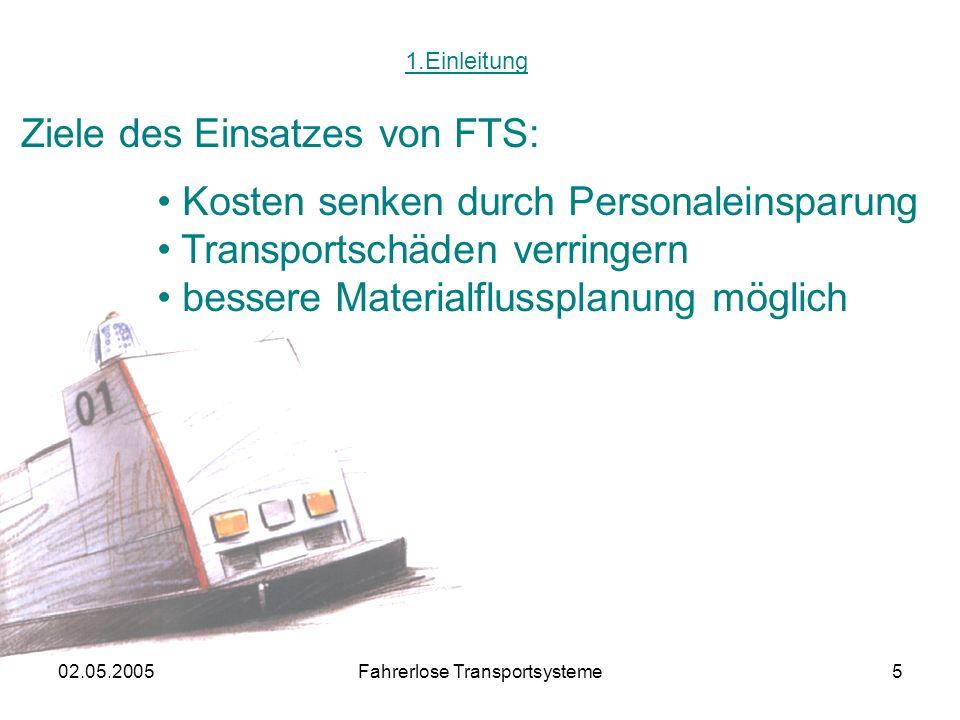 02.05.2005Fahrerlose Transportsysteme5 1.Einleitung Ziele des Einsatzes von FTS: Kosten senken durch Personaleinsparung Transportschäden verringern bessere Materialflussplanung möglich