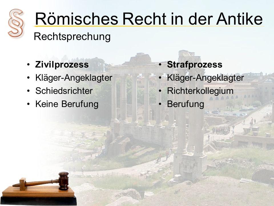 Römisches Recht in der Antike Rechtsprechung Zivilprozess Kläger-Angeklagter Schiedsrichter Keine Berufung Strafprozess Kläger-Angeklagter Richterkoll