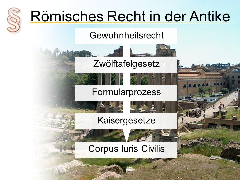 Römisches Recht in der Antike Gewohnheitsrecht Zwölftafelgesetz Formularprozess Kaisergesetze Corpus Iuris Civilis
