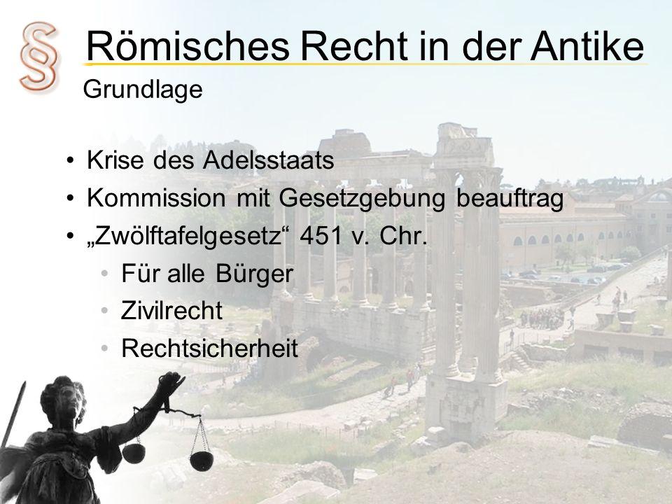 Römisches Recht in der Antike Zeitabschnitte 753 v.