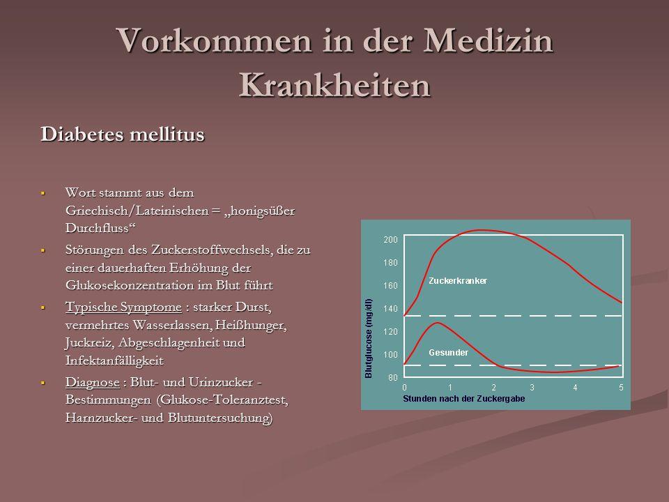 Vorkommen in der Medizin Krankheiten Diabetes mellitus Wort stammt aus dem Griechisch/Lateinischen = honigsüßer Durchfluss Wort stammt aus dem Griechi
