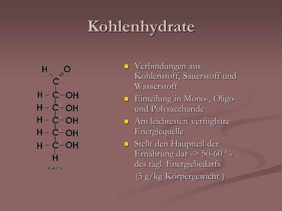 Kohlenhydrate Verbindungen aus Kohlenstoff, Sauerstoff und Wasserstoff Verbindungen aus Kohlenstoff, Sauerstoff und Wasserstoff Einteilung in Mono-, O