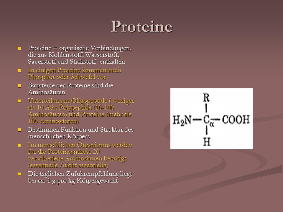 Proteine Proteine = organische Verbindungen, die aus Kohlenstoff, Wasserstoff, Sauerstoff und Stickstoff enthalten Proteine = organische Verbindungen,