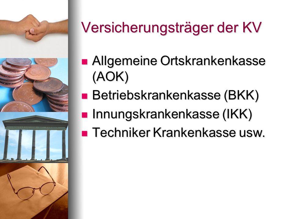 Versicherungsträger der KV Allgemeine Ortskrankenkasse (AOK) Allgemeine Ortskrankenkasse (AOK) Betriebskrankenkasse (BKK) Betriebskrankenkasse (BKK) I