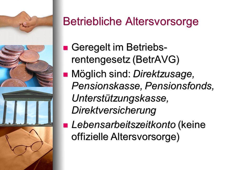 Betriebliche Altersvorsorge Geregelt im Betriebs- rentengesetz (BetrAVG) Geregelt im Betriebs- rentengesetz (BetrAVG) Möglich sind: Direktzusage, Pens