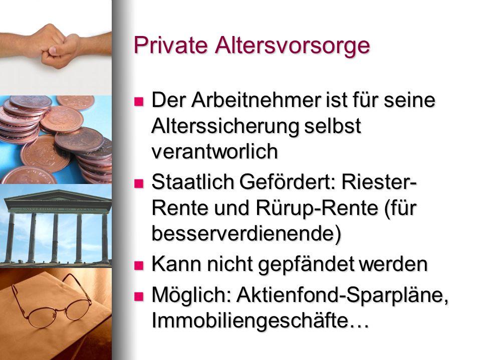 Private Altersvorsorge Der Arbeitnehmer ist für seine Alterssicherung selbst verantworlich Der Arbeitnehmer ist für seine Alterssicherung selbst veran