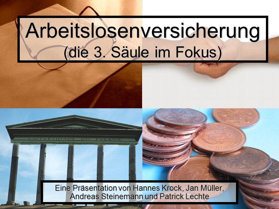 Arbeitslosenversicherung (die 3. Säule im Fokus) Eine Präsentation von Hannes Krock, Jan Müller, Andreas Steinemann und Patrick Lechte