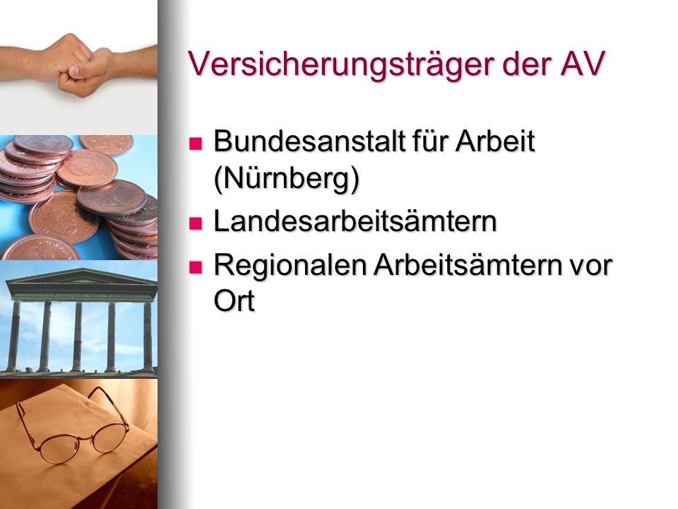 Versicherungsträger der AV Bundesanstalt für Arbeit (Nürnberg) Bundesanstalt für Arbeit (Nürnberg) Landesarbeitsämtern Landesarbeitsämtern Regionalen