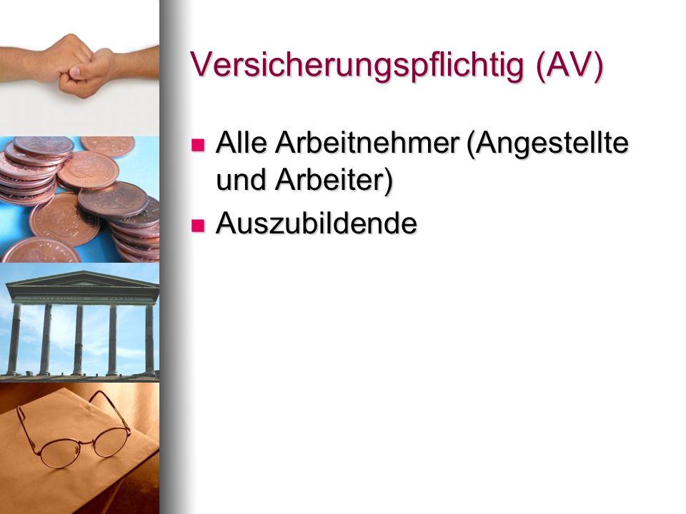 Versicherungspflichtig (AV) Alle Arbeitnehmer (Angestellte und Arbeiter) Alle Arbeitnehmer (Angestellte und Arbeiter) Auszubildende Auszubildende