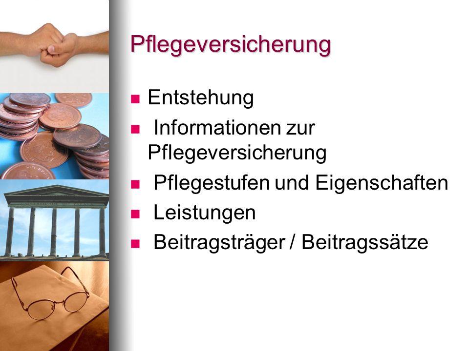 Pflegeversicherung Entstehung Informationen zur Pflegeversicherung Pflegestufen und Eigenschaften Leistungen Beitragsträger / Beitragssätze