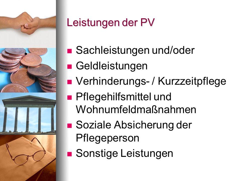 Leistungen der PV Sachleistungen und/oder Geldleistungen Verhinderungs- / Kurzzeitpflege Pflegehilfsmittel und Wohnumfeldmaßnahmen Soziale Absicherung