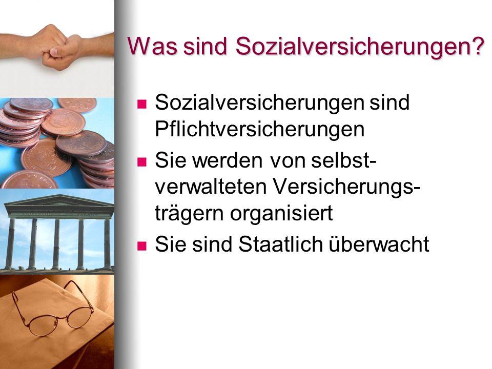 Was sind Sozialversicherungen? Sozialversicherungen sind Pflichtversicherungen Sie werden von selbst- verwalteten Versicherungs- trägern organisiert S