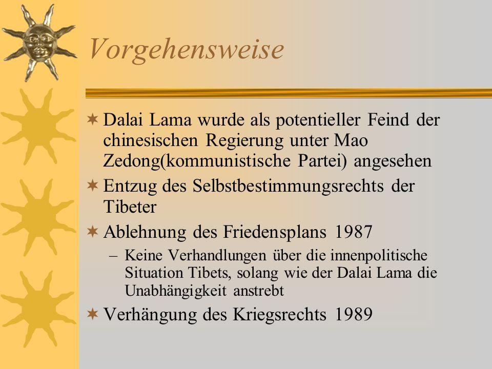 Vorgehensweise Dalai Lama wurde als potentieller Feind der chinesischen Regierung unter Mao Zedong(kommunistische Partei) angesehen Entzug des Selbstb
