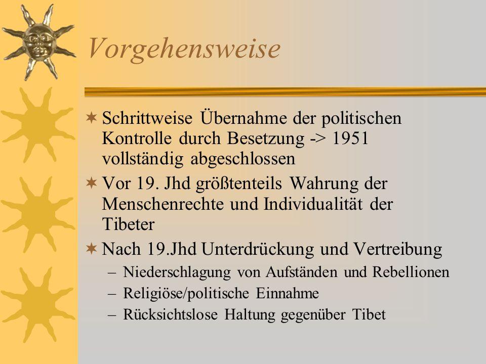 Vorgehensweise Schrittweise Übernahme der politischen Kontrolle durch Besetzung -> 1951 vollständig abgeschlossen Vor 19. Jhd größtenteils Wahrung der