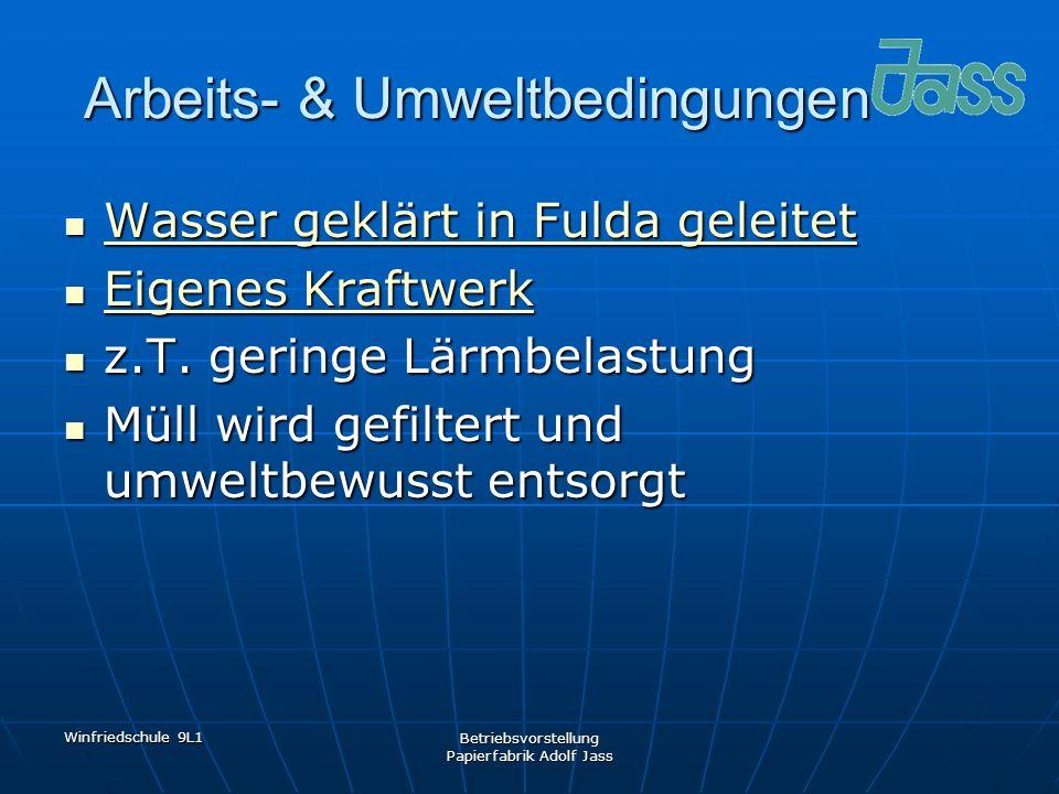 Winfriedschule 9L1 Betriebsvorstellung Papierfabrik Adolf Jass Arbeits- & Umweltbedingungen Wasser geklärt in Fulda geleitet Wasser geklärt in Fulda g