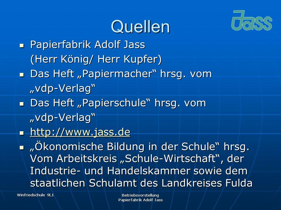 Winfriedschule 9L1 Betriebsvorstellung Papierfabrik Adolf Jass Quellen Papierfabrik Adolf Jass Papierfabrik Adolf Jass (Herr König/ Herr Kupfer) Das H