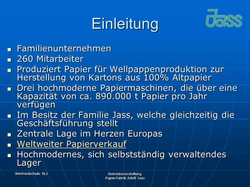 Winfriedschule 9L1 Betriebsvorstellung Papierfabrik Adolf Jass Einleitung Familienunternehmen Familienunternehmen 260 Mitarbeiter 260 Mitarbeiter Prod