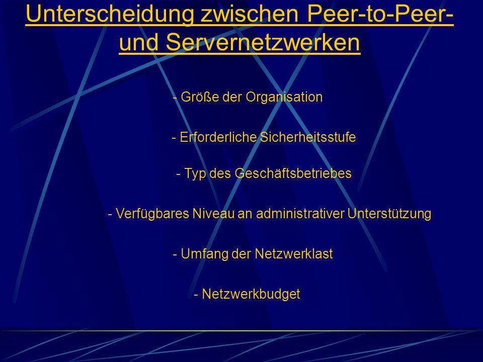 Unterscheidung zwischen Peer-to-Peer- und Servernetzwerken - Größe der Organisation - Typ des Geschäftsbetriebes - Erforderliche Sicherheitsstufe - Ve