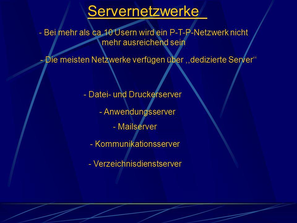 Servernetzwerke - Bei mehr als ca.10 Usern wird ein P-T-P-Netzwerk nicht mehr ausreichend sein - Datei- und Druckerserver - Die meisten Netzwerke verf
