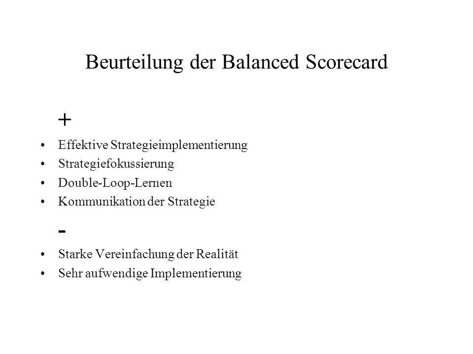 Beurteilung der Balanced Scorecard + Effektive Strategieimplementierung Strategiefokussierung Double-Loop-Lernen Kommunikation der Strategie - Starke Vereinfachung der Realität Sehr aufwendige Implementierung