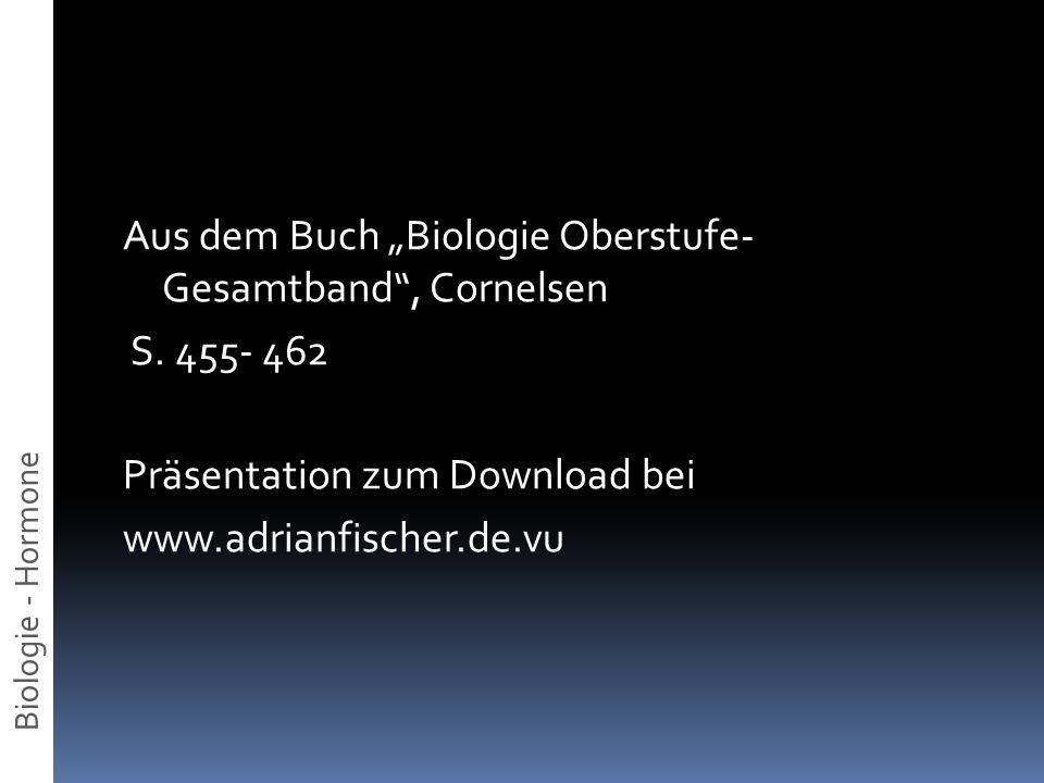 Aus dem Buch Biologie Oberstufe- Gesamtband, Cornelsen S. 455- 462 Präsentation zum Download bei www.adrianfischer.de.vu Biologie - Hormone