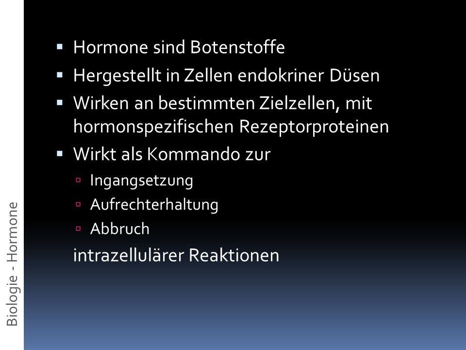 Hormone sind Botenstoffe Hergestellt in Zellen endokriner Düsen Wirken an bestimmten Zielzellen, mit hormonspezifischen Rezeptorproteinen Wirkt als Ko
