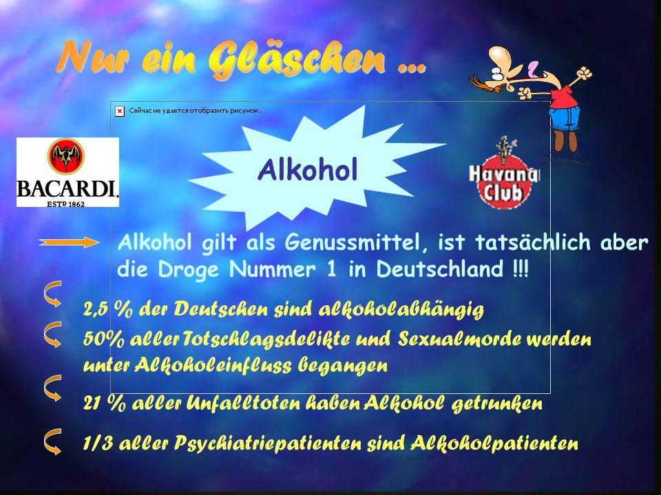Alkohol Alkohol gilt als Genussmittel, ist tatsächlich aber die Droge Nummer 1 in Deutschland !!! 2,5 % der Deutschen sind alkoholabhängig 50% aller T