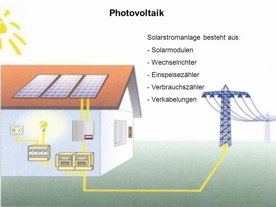 Photovoltaik Solarstromanlage besteht aus: - Solarmodulen - Wechselrichter - Einspeisezähler - Verbrauchszähler - Verkabelungen