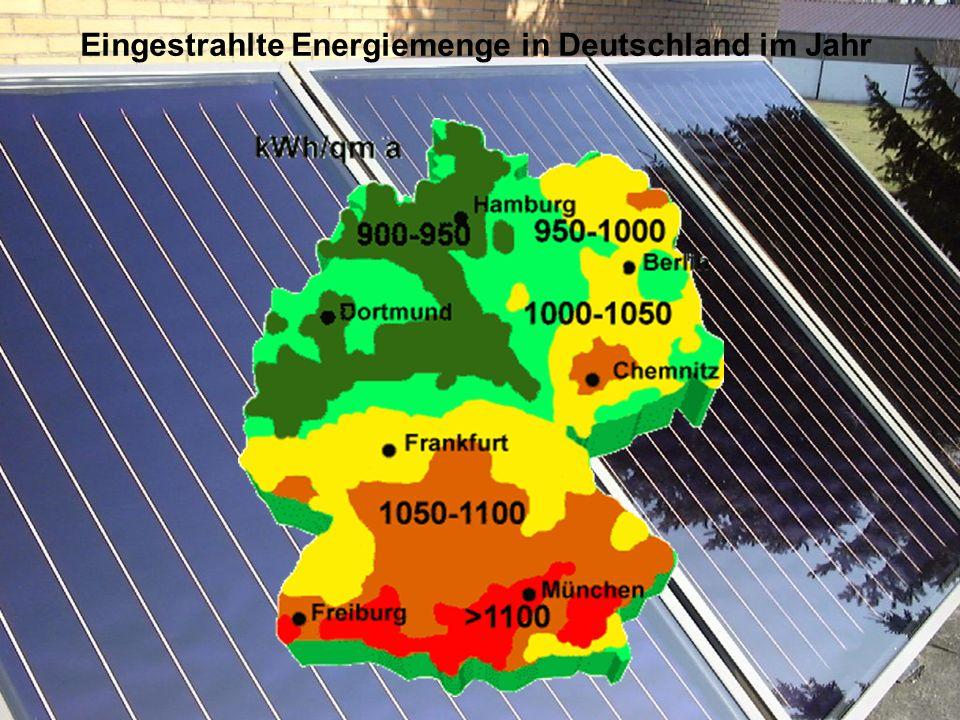 Eingestrahlte Energiemenge in Deutschland im Jahr