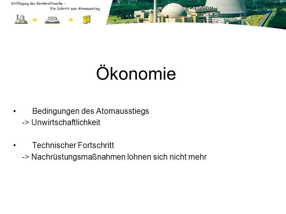 Ökonomie Bedingungen des Atomausstiegs -> Unwirtschaftlichkeit Technischer Fortschritt -> Nachrüstungsmaßnahmen lohnen sich nicht mehr
