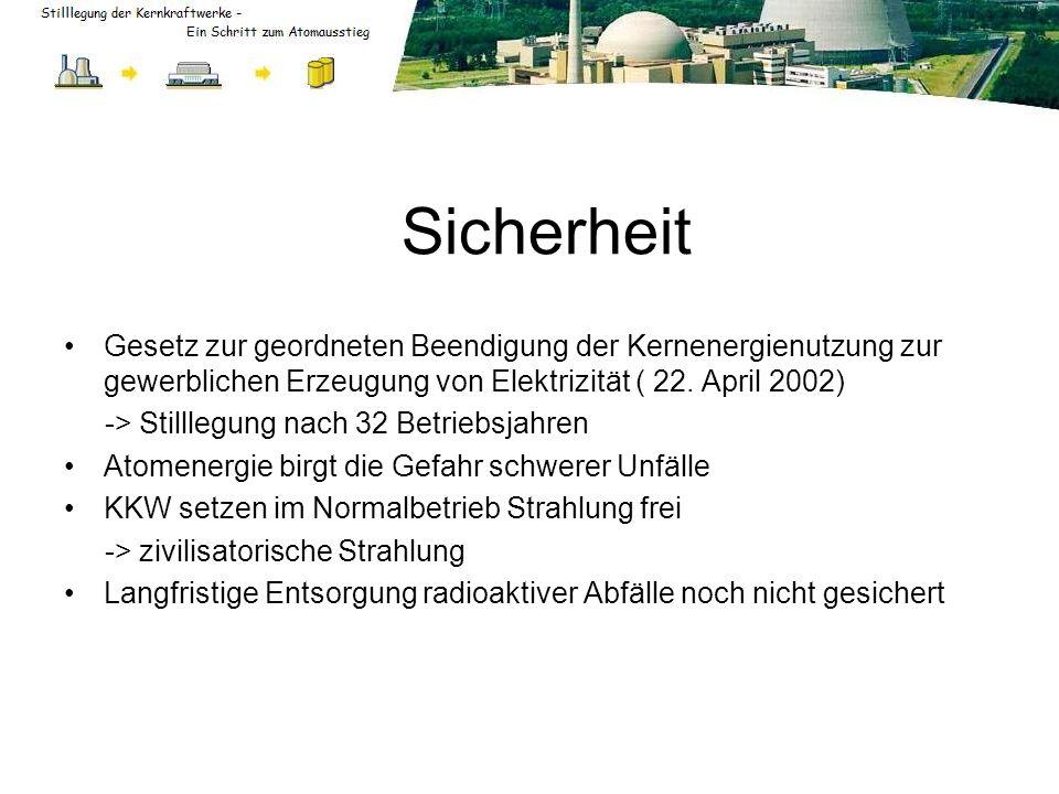 Sicherheit Gesetz zur geordneten Beendigung der Kernenergienutzung zur gewerblichen Erzeugung von Elektrizität ( 22. April 2002) -> Stilllegung nach 3