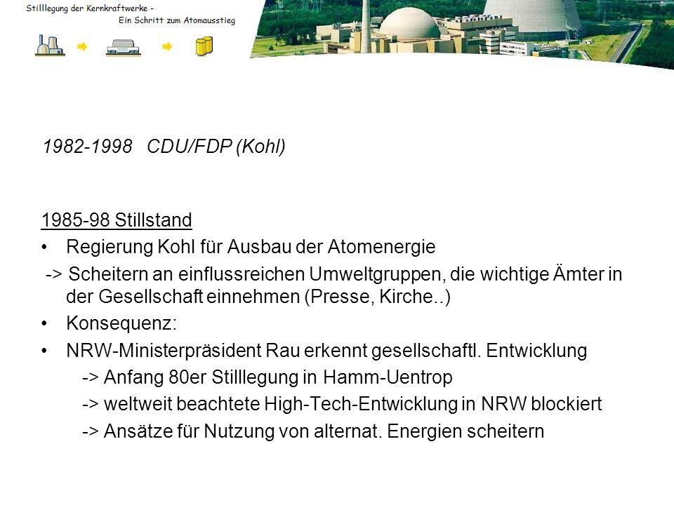 1982-1998 CDU/FDP (Kohl) 1985-98 Stillstand Regierung Kohl für Ausbau der Atomenergie -> Scheitern an einflussreichen Umweltgruppen, die wichtige Ämte