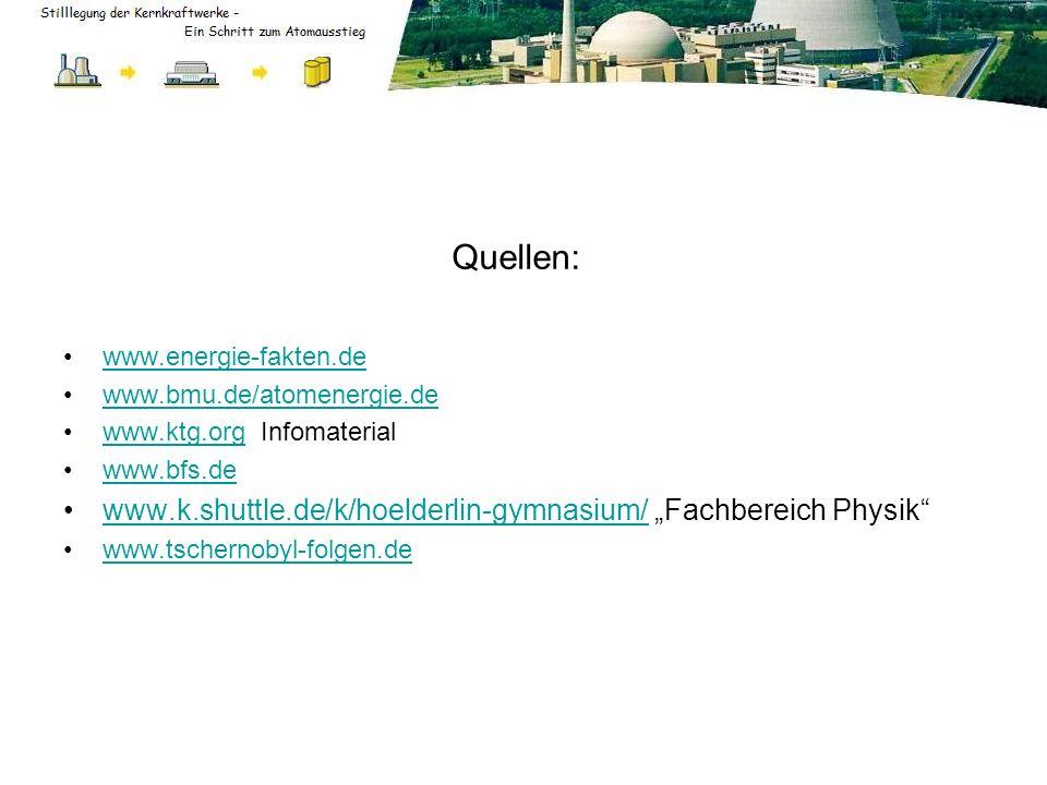 Quellen: www.energie-fakten.de www.bmu.de/atomenergie.de www.ktg.org Infomaterialwww.ktg.org www.bfs.de www.k.shuttle.de/k/hoelderlin-gymnasium/ Fachb