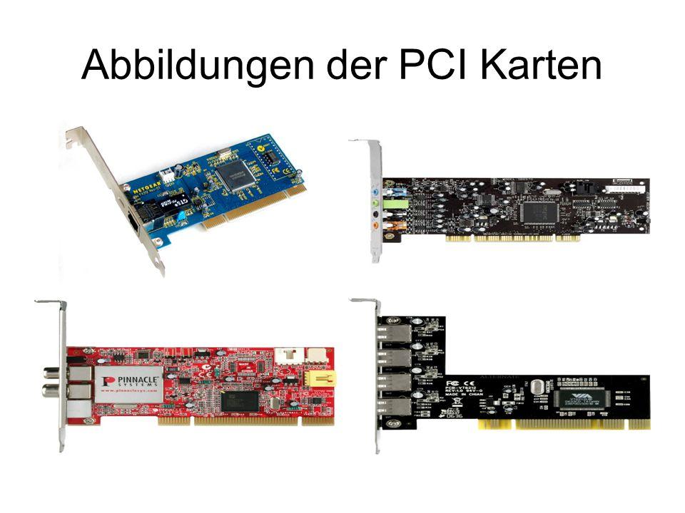 Unterschied ISA / PCI PCI Karten weisen sich automatisch dem System an durch eine zugewiesene ID (ähnliches Prinzip wie bei der Verteilung von IPs in Netzwerken) Aus dem Grund wird meine manuelle Hardwareadressierung benötigt Jede PCI Karte hat Daten/Informationen über sich selber auf einem kleinen ROM-Speicherstein gespeichert ( somit kann sich die Karte gegenüber einem System ausweisen ) z.
