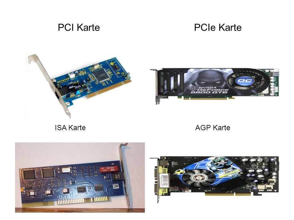 Features Hohe Leistung: von 32 bit und 33 MHz (132 MB/s) bis 64 bit und 66 MHz (528 MB/s) erweiterbar Burst-Mode bei gecachten und ungecachten Schreib- und Lesezugriffen Burst-Mode = Beschleunigung der Schreib/Lesegeschwindigkeit geringe Latenzzeiten ( Verzögerungszeit: Im Allgemeinen handelt es sich um das Zeitintervall vom Ende eines Ereignisses bis zum Beginn der Reaktion auf dieses Ereignis) Einfache Handhabung: Autokonfiguration durch das System möglich PCI-Geräte kennen Informationen für eigene Konfiguration Dauerhaftigkeit: Prozessor unabhängig 64-bit Adressierung möglich 5V oder 3.3V Varianten ( Stromsparender ) Zusammenarbeit Geringe Ausmaße der Karten ( kleiner als bei ISA ) Vorwärts- und Rückwärts-Kompatibilität zwischen 32 und 64 bit Vorwärts- und Rückwärts-Kompatibilität zwischen 33 und 66 MHz Flexibilität: Multi-Master-Fähigkeit erlaubt Kommunikation verschiedener Geräte untereinander Daten Integrität: Definierte Fehlerzustände Software Kompatibilität: Volle Unterstützung aktueller Systeme möglich