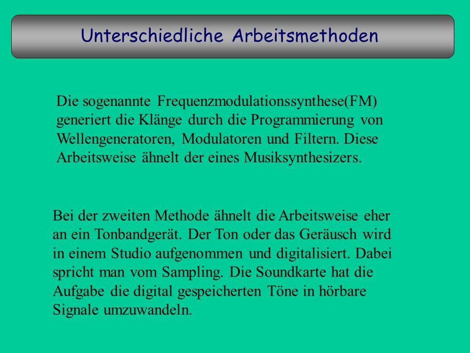 Unterschiedliche Arbeitsmethoden Die sogenannte Frequenzmodulationssynthese(FM) generiert die Klänge durch die Programmierung von Wellengeneratoren, M