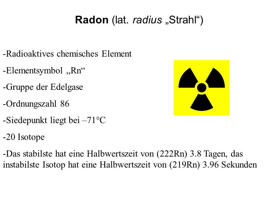 Radon (lat. radius Strahl) -Radioaktives chemisches Element -Elementsymbol Rn -Gruppe der Edelgase -Ordnungszahl 86 -Siedepunkt liegt bei –71°C -20 Is