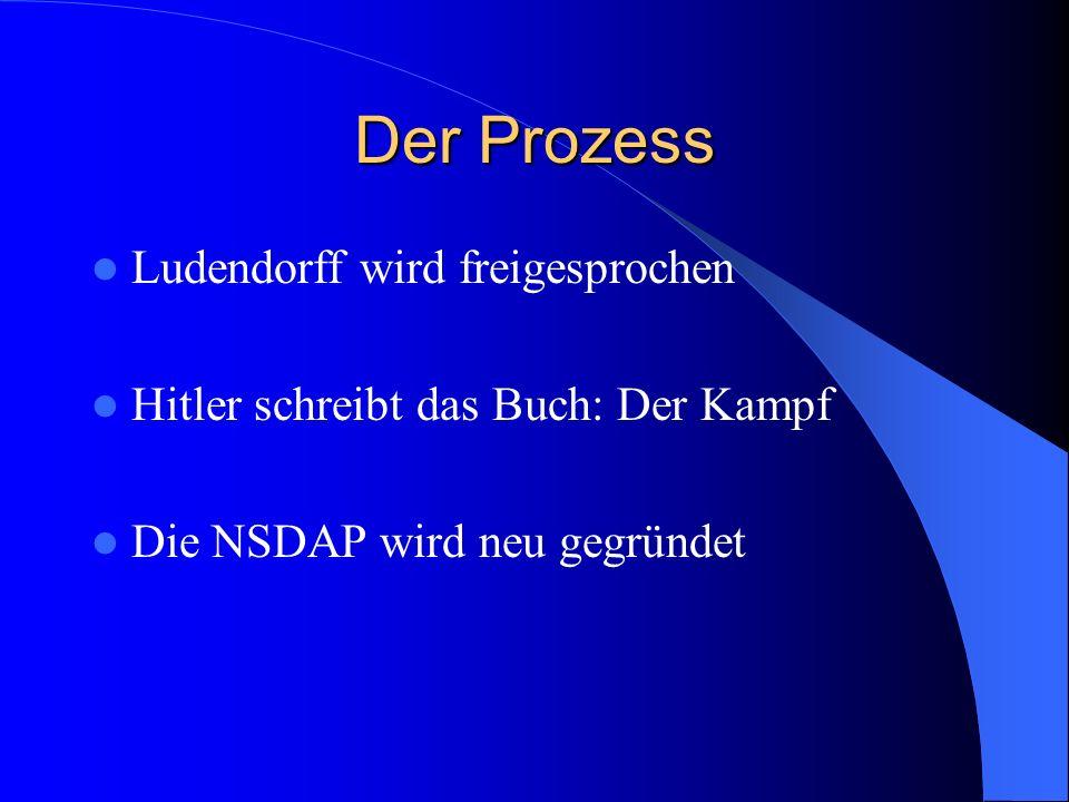Der Prozess Der Hauptangeklagte Hitler konnte den Hauptkläger spielen Hat das Gericht die Meinung der Putschisten? Fünf Jahre Haft für Hitler