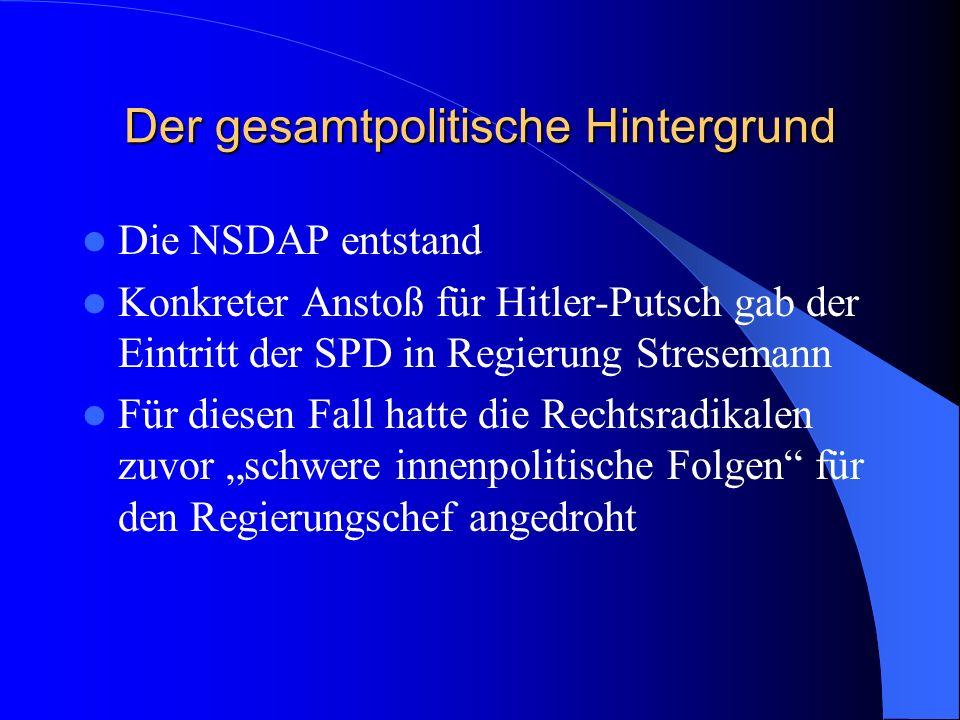 Der gesamtpolitische Hintergrund seit Münchner Räterepublik entwickelte sich Bayern zur Sammelstelle rechtsradikaler Kreise, Verbände und Parteien die