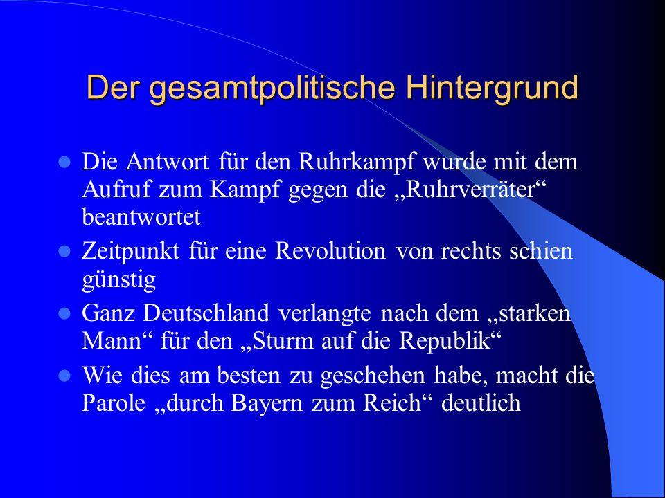 Der gesamtpolitische Hintergrund Die NSDAP entstand Konkreter Anstoß für Hitler-Putsch gab der Eintritt der SPD in Regierung Stresemann Für diesen Fal