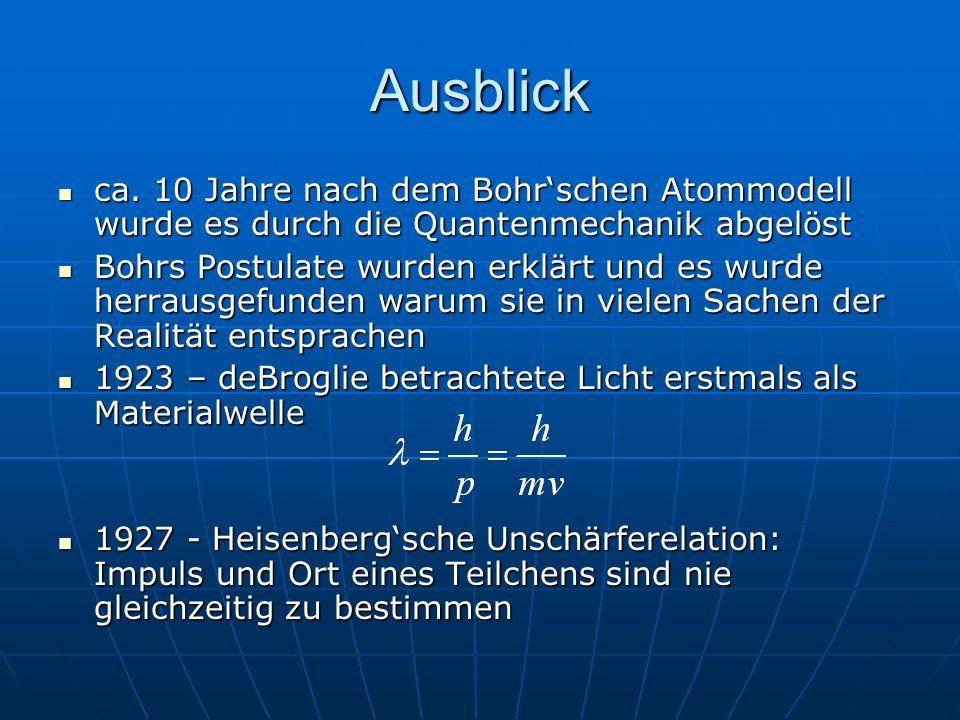 Ausblick ca. 10 Jahre nach dem Bohrschen Atommodell wurde es durch die Quantenmechanik abgelöst ca. 10 Jahre nach dem Bohrschen Atommodell wurde es du