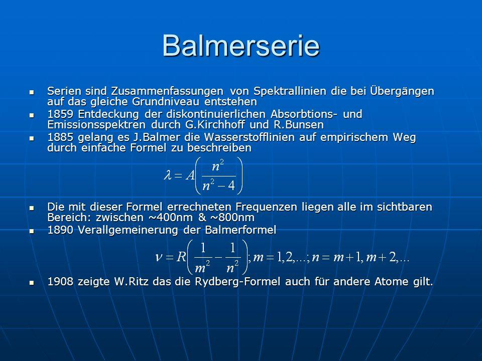 Balmerserie Serien sind Zusammenfassungen von Spektrallinien die bei Übergängen auf das gleiche Grundniveau entstehen Serien sind Zusammenfassungen vo