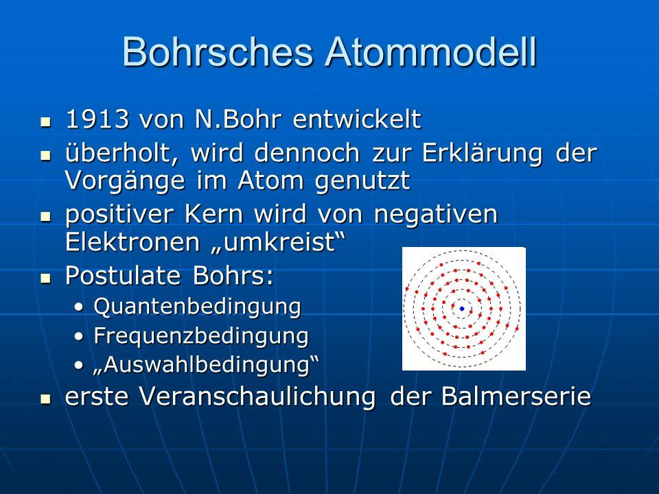 Bohrsches Atommodell 1913 von N.Bohr entwickelt 1913 von N.Bohr entwickelt überholt, wird dennoch zur Erklärung der Vorgänge im Atom genutzt überholt,