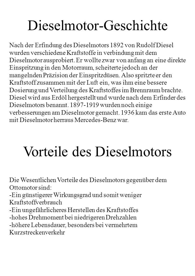 Dieselmotor-Geschichte Nach der Erfindung des Dieselmotors 1892 von Rudolf Diesel wurden verschiedene Kraftstoffe in verbindung mit dem Dieselmotor au