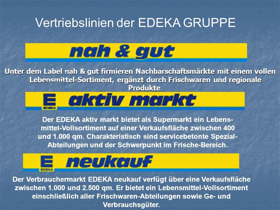 Vertriebslinien der EDEKA GRUPPE Unter dem Label nah & gut firmieren Nachbarschaftsmärkte mit einem vollen Lebensmittel-Sortiment, ergänzt durch Frisc