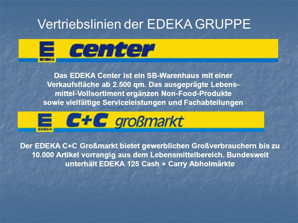 Vertriebslinien der EDEKA GRUPPE Das EDEKA Center ist ein SB-Warenhaus mit einer Verkaufsfläche ab 2.500 qm. Das ausgeprägte Lebens- mittel-Vollsortim