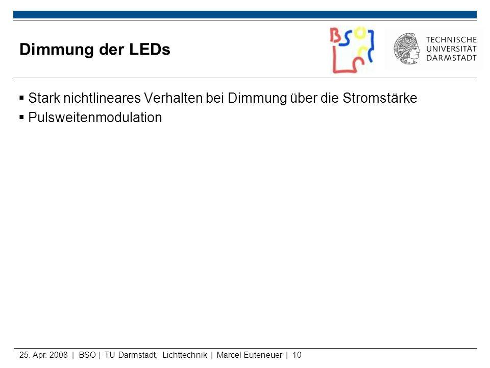 25. Apr. 2008 | BSO | TU Darmstadt, Lichttechnik | Marcel Euteneuer | 10 Dimmung der LEDs Stark nichtlineares Verhalten bei Dimmung über die Stromstär