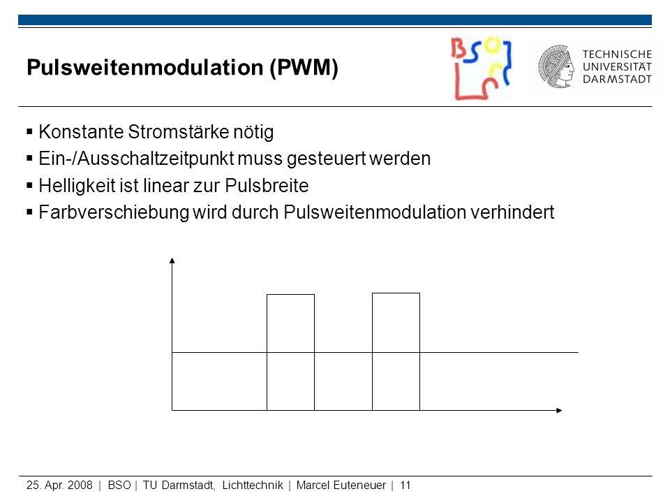 25. Apr. 2008 | BSO | TU Darmstadt, Lichttechnik | Marcel Euteneuer | 11 Pulsweitenmodulation (PWM) Konstante Stromstärke nötig Ein-/Ausschaltzeitpunk