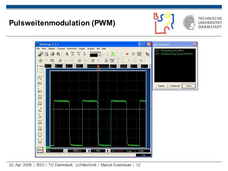 25. Apr. 2008 | BSO | TU Darmstadt, Lichttechnik | Marcel Euteneuer | 12 Pulsweitenmodulation (PWM)